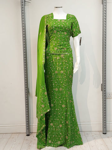 Ladies green fish cut half sleeve full jal embroidery Lengha D.NO A