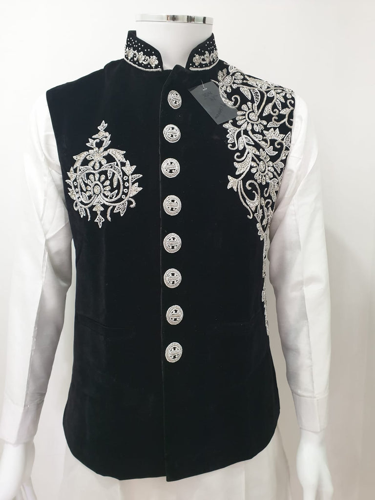 Black Velvet Waistcoat With Silver Hand Embroidery