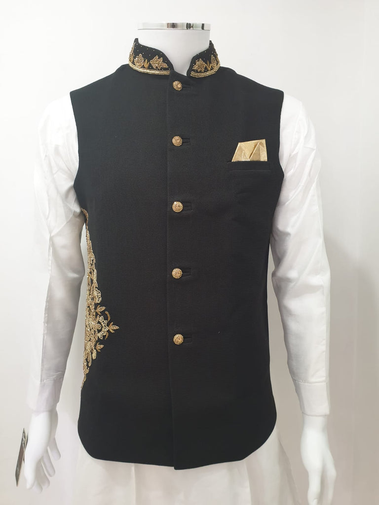 Black Waistcoat Gold Hip Embroidery