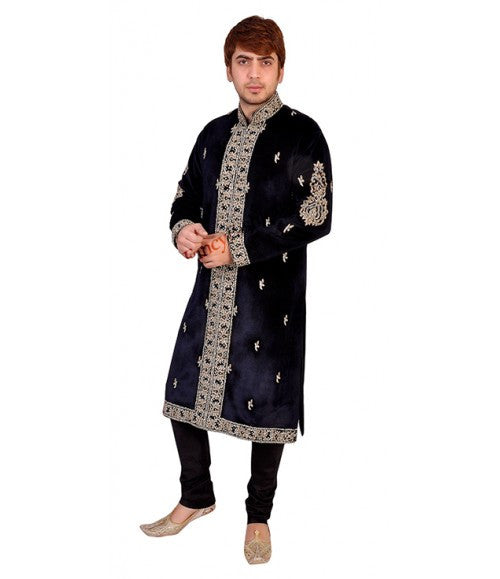 Velvet Kurta With Diamante Embroidery