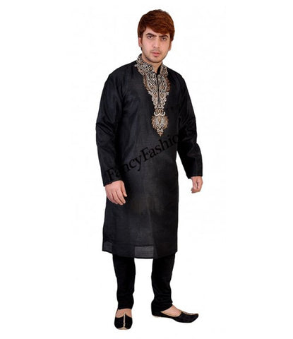Black Kurta With Contrast Bead Embroidery