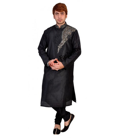 Black Kurta With Shoulder Embroidery