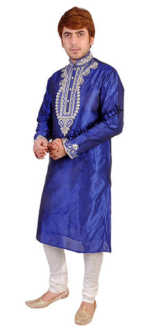 Blue Kurta With Contrasting Embroidery