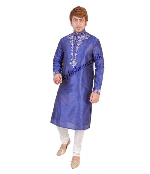Blue Kurta With Contrast Embroidery