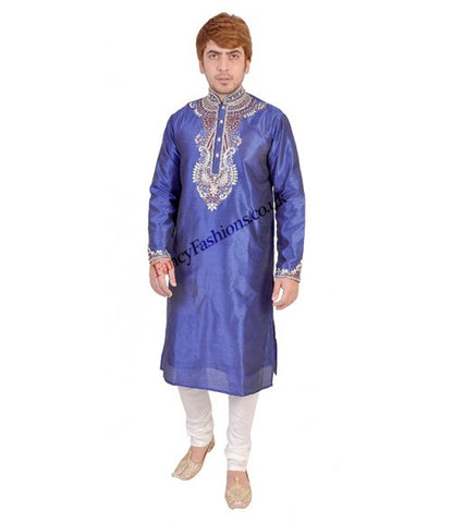 Blue Kurta With Heavy Contrast Embroidery