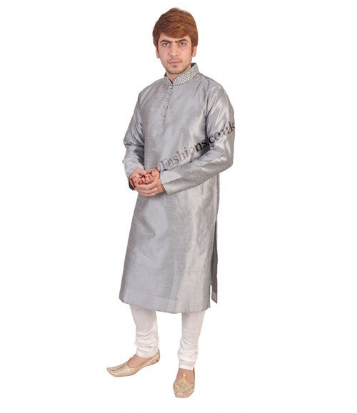 Grey Smart Kurta With Bead Neck Embroidery