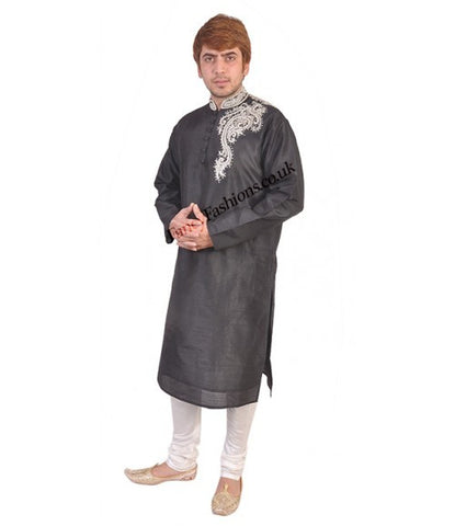 Black Kurta With White Peal Shoulder Embroidery