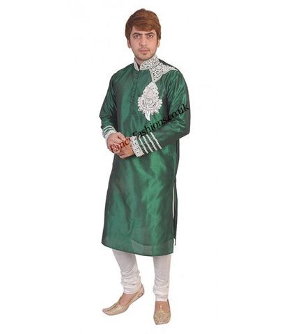 Green Kurta Heavy Shoulder And Cuffs Embroidery