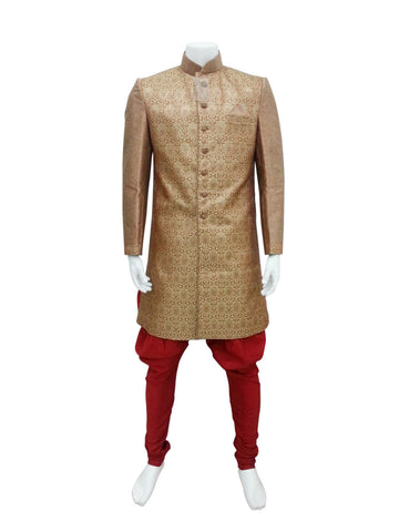 Simple Gold And Red Brocade Indo Western Outfit