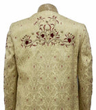 Gold & Red Embroidery Groom Shervani