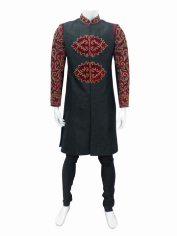 Black Indo Western Outfit With Red Velvet Embroidery