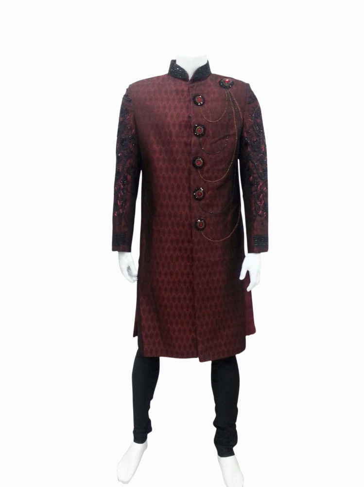 Maroon & Black Embroidery Groom Shervani