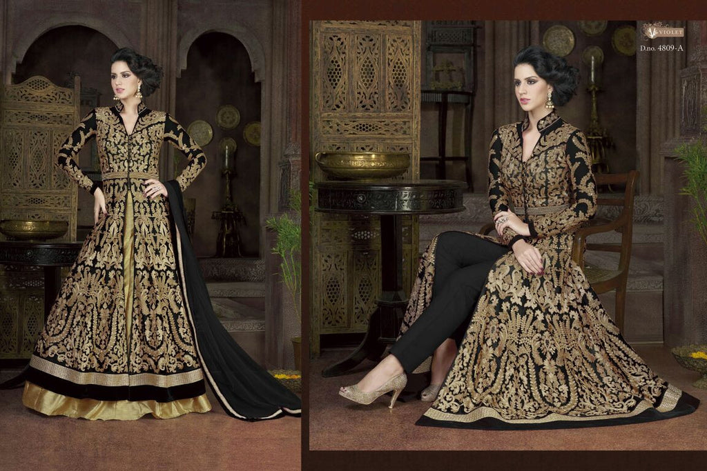 Frock Style Heavy Gold Embroidery Unstitched Dress