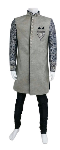 Grey Tweed Indo Western Outfit With Brocade Arms