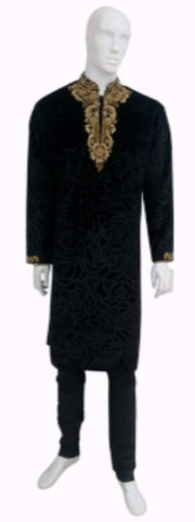 Black Velvet Kurta Pyjama Suit With Gold Embroidery