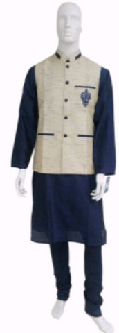 Blue Kurta Pyjama With Cream Tweed Waistcoat