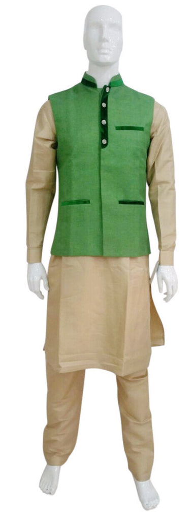 Gold Kurta Pyjama With Green Tweed Waistcoat