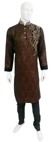 Chocolate Brown Brocade Kurta With Antique Embroidery