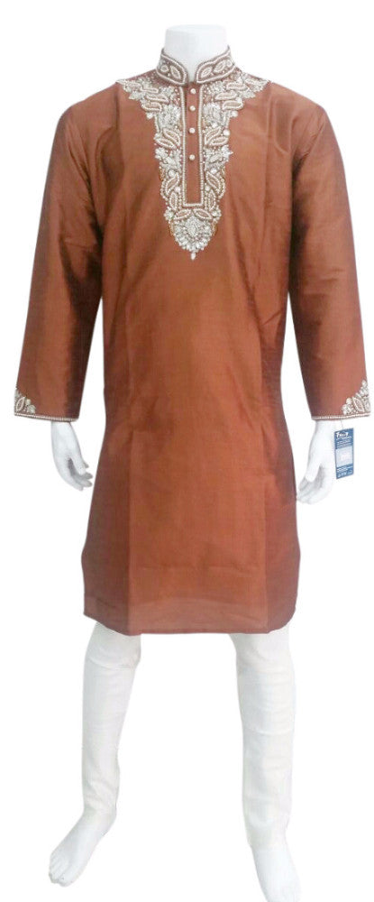 Rust Colour Kurta With Contrast Bead Embroidery