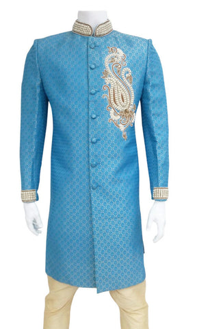 Light Blue Brocade Indo Western Outfit