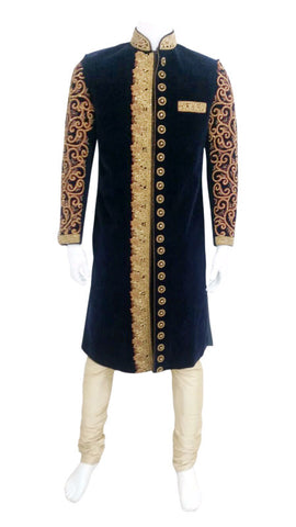 Velvet Navy Blue Shervani With Full Arm Embroidery