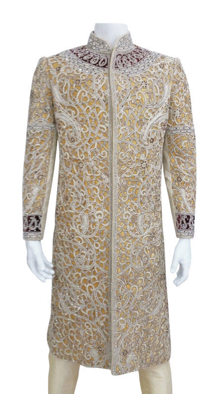 Gold Heavy Embroidery Groom Shervani