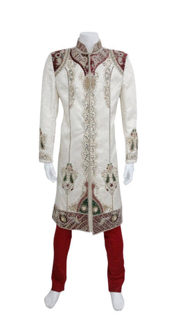 Half White Heavy Embroidery Groom Shervani