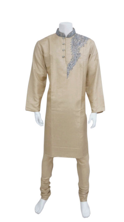 Gold Kurta With Shoulder Embroidery