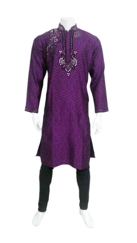 Purple Brocade Outfit With Neck Embroidery