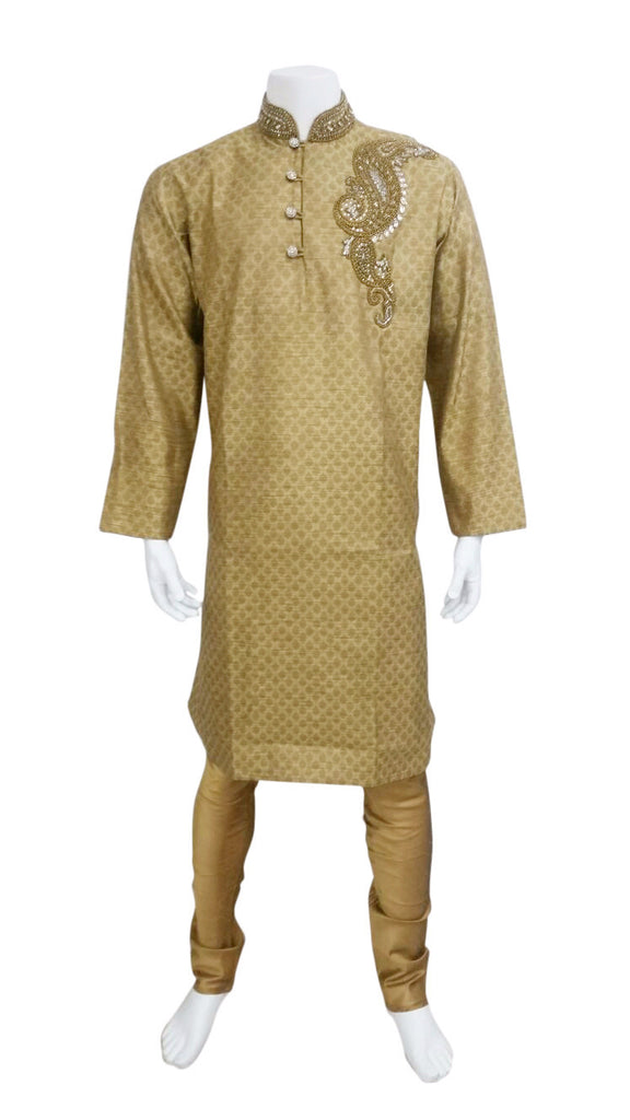 Stylish Gold Brocade Outfit With Classy Embroidery