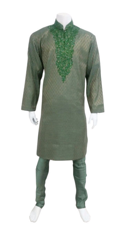 Green Brocade Outfit With Sequin Neck Embroidery