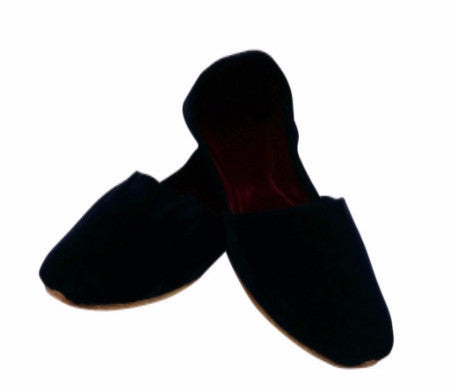 Navy Blue Velvet Khusa With Velvet Insole