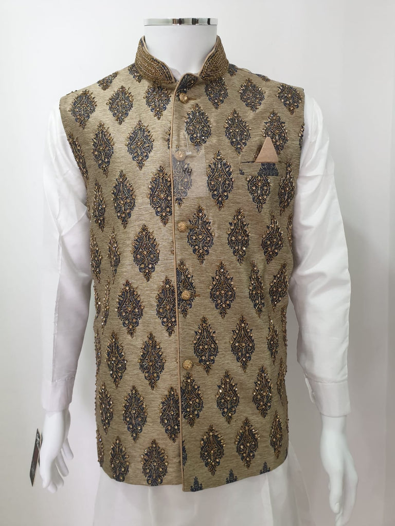 Light Green Fully Embroidered Waistcoat