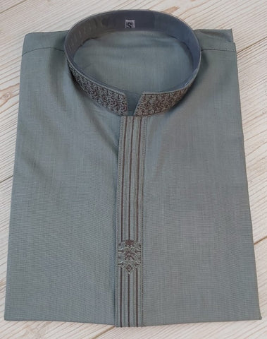 Mens Light Grey Colour Casual Salwar Kameez