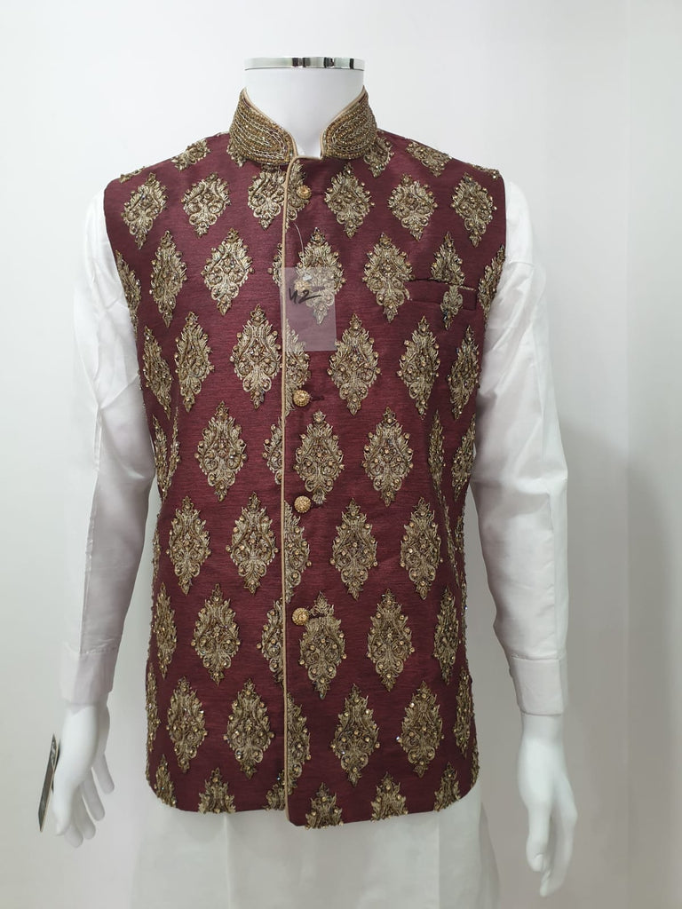 Maroon Fully Embroidered Waistcoat
