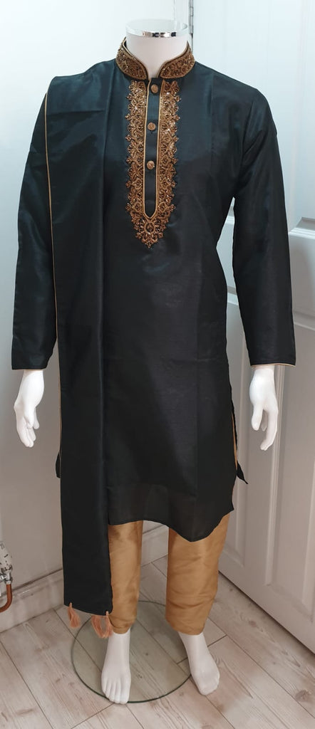 Men's Black Kurta With Gold Pyjama