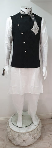 Men's White Dupion Kurta Pyjama With Black Waistcoat