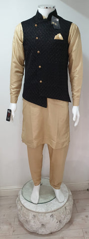 Men's Gold Dupion Kurta Pyjama With Black Waistcoat