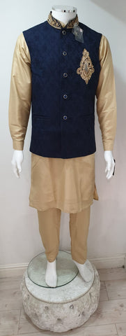 Men's Gold Dupion Kurta Pyjama With Navy Blue Waistcoat