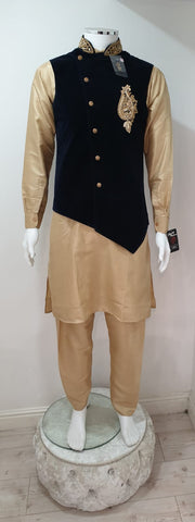 Men's Gold Dupion Kurta Pyjama With Navy Blue Velvet Waistcoat