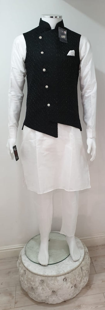 Men's White Dupion Kurta Pyjama With Black Designer Waistcoat