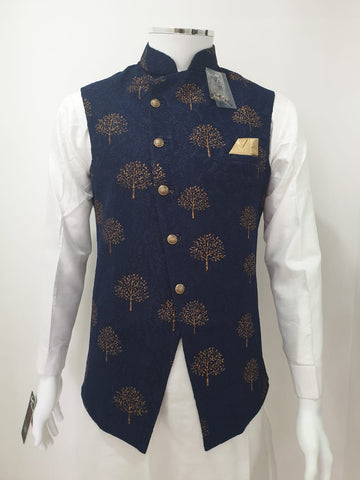 Navy Blue Waistcoat With Brown Print Design