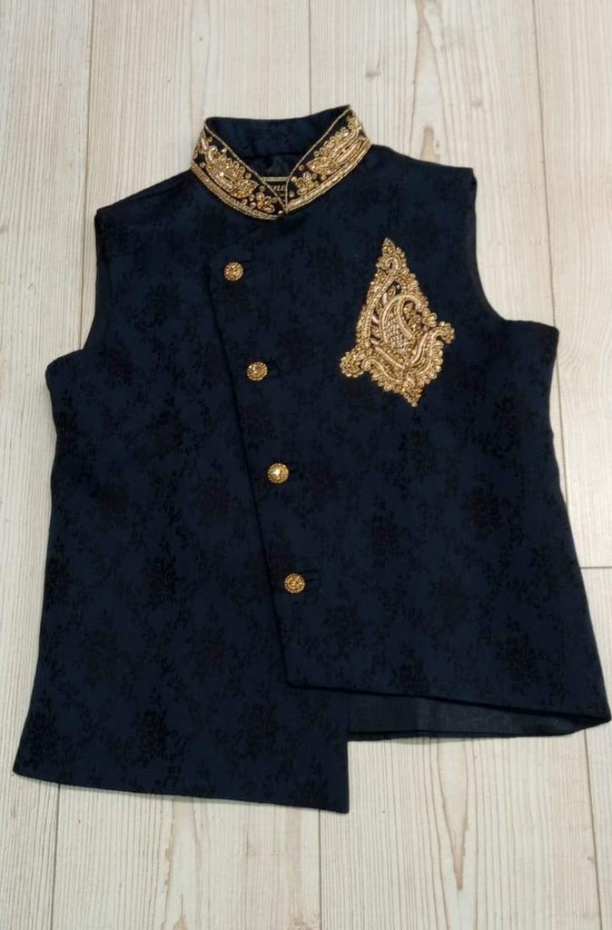 Boys Navy Blue Waistcoat With Gold Embroidery