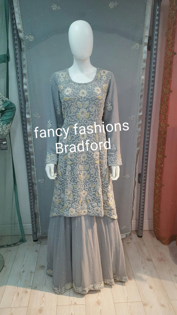 Grey tail wedding dress with langha