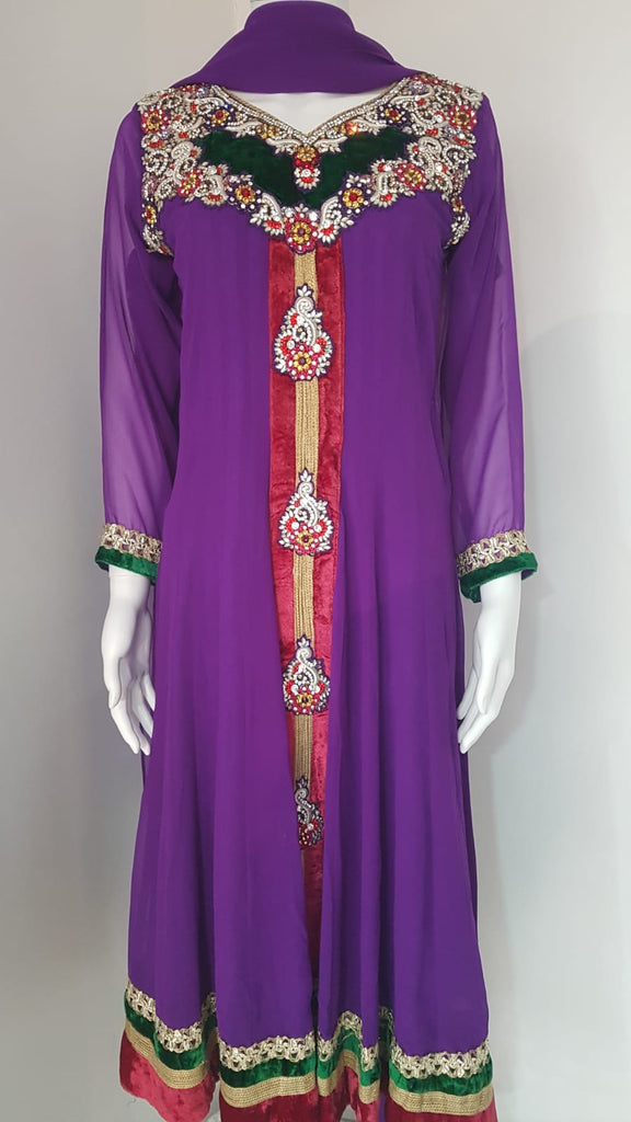 Purple Embroidered Party Dress On Chiffon Material