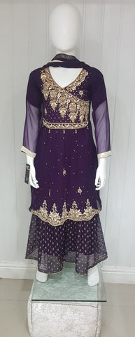 Girls purple gharara suit