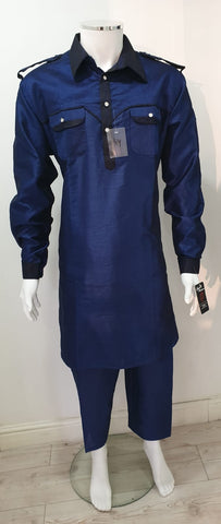 Men,s designer collar salwar kameez  in blue colour
