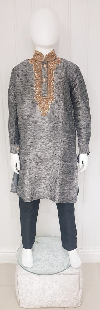 Gray & black kurtah pajama with neck line gold stone embroidery D.NO A103