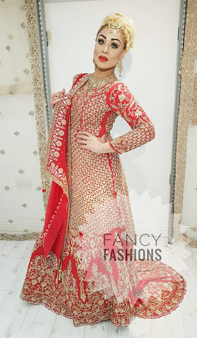 Heavy Red Bridal Langha with Back Tail