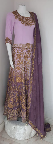 Purple wedding langha with gold embroidery